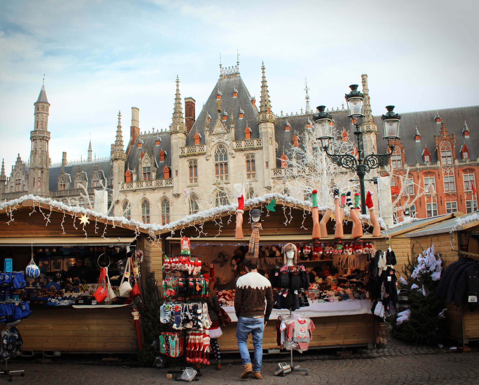 The adorable Christmas Market in Brugges, Belgium in winter.
