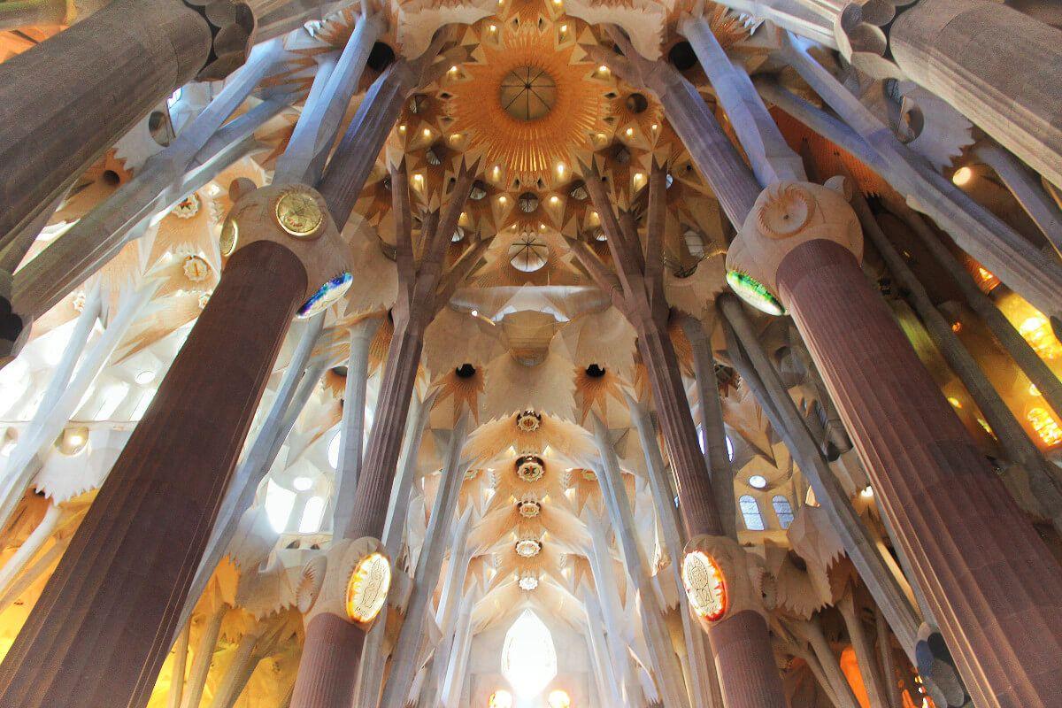 The ceiling of Gaudi's Sagrada Familia Basilica in Barcelona, Spain.