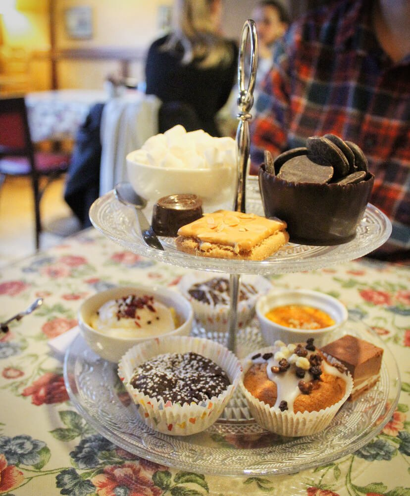 Chocolate High Tea at the Old Chocolate house in Brugges Belgium is a romantic sugar overload! Check out the cup of marshmallows and chocolate disks for making the hot chocolate. Yum!