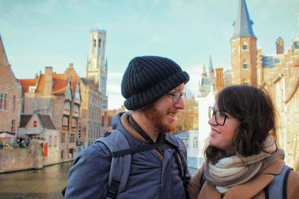 Gazing lovingly into each other's eyes or whatever at the Rozenhoedkaai in Bruges, Belgium. This is a fantastic spot for a romantic selfie!