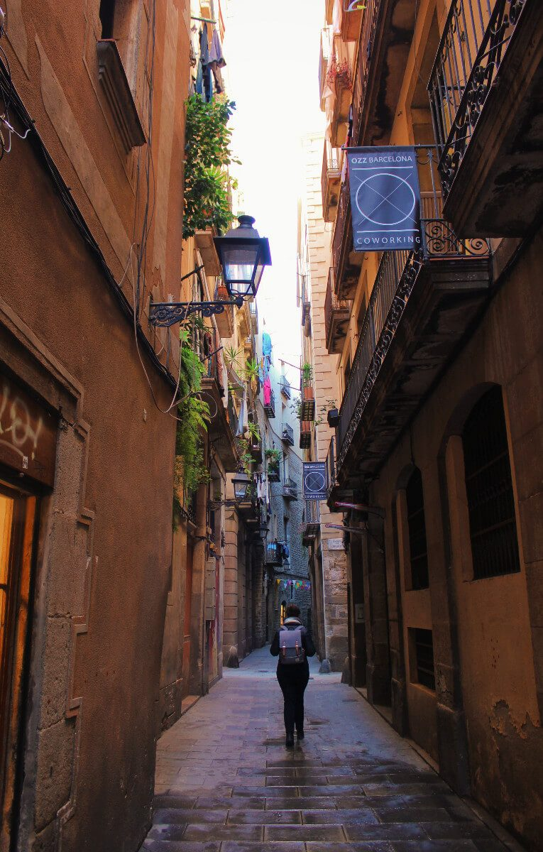 Exploring Barcelona's ancient Gothic Quarter, with its impossibly narrow winding pedestrian-only alleyways.