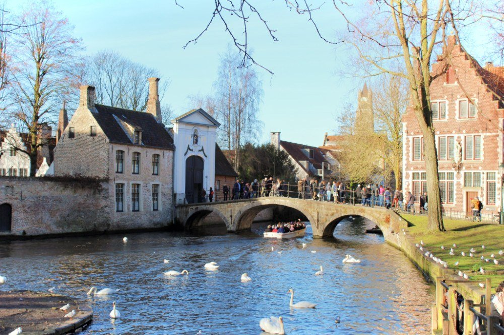 Lovers Bridge and its resident swans at Minnewater Park in romantic Brugges, Belgium during the winter.