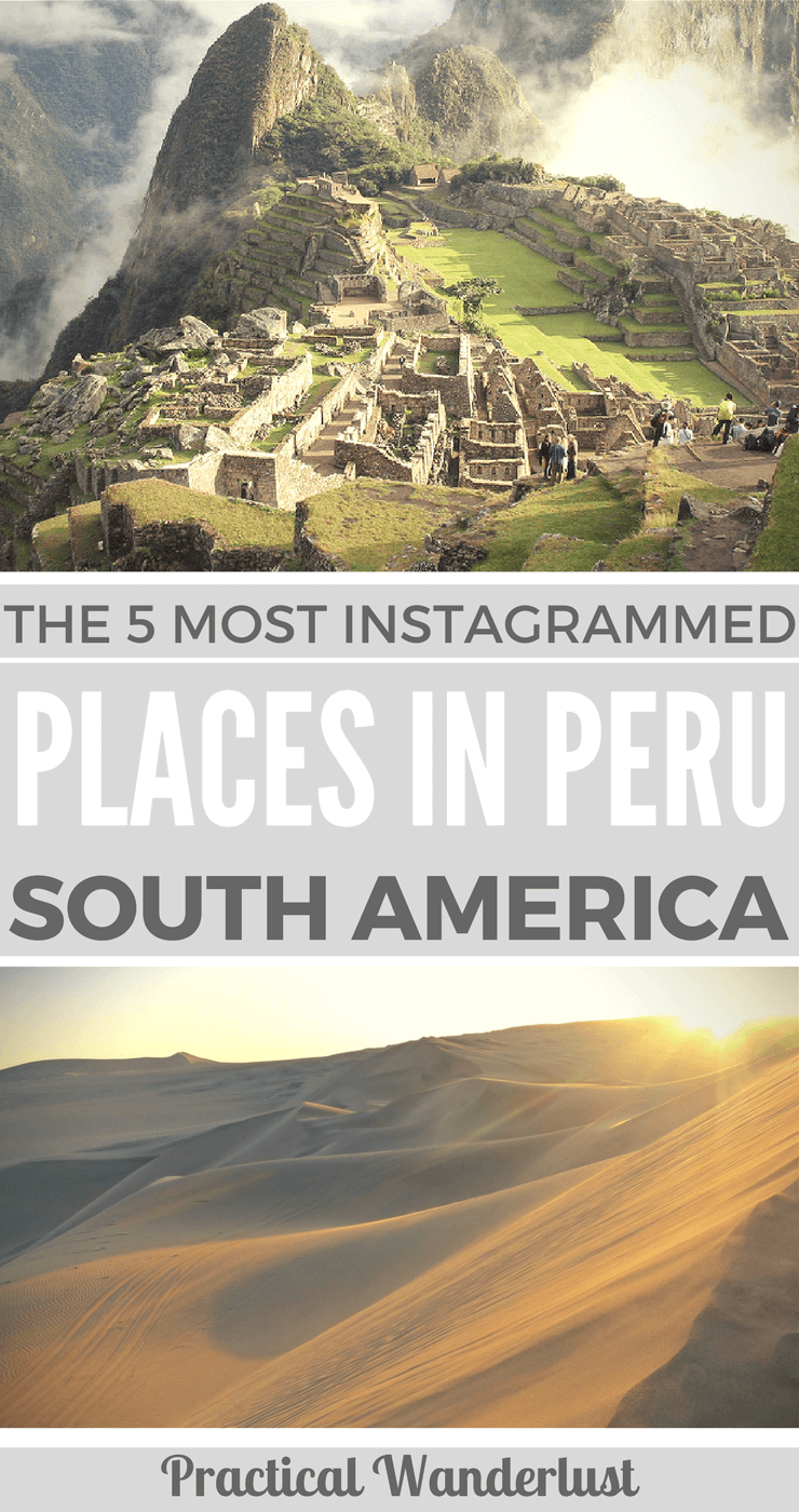 Don't miss out on the 5 most Instagrammed places in Peru! Peru is full of picturesque places, from the iconic Machu Picchu to the towering El Misti volcano. Peru has some of the most incredible places to see in South America! Don't miss out when you travel to Peru.