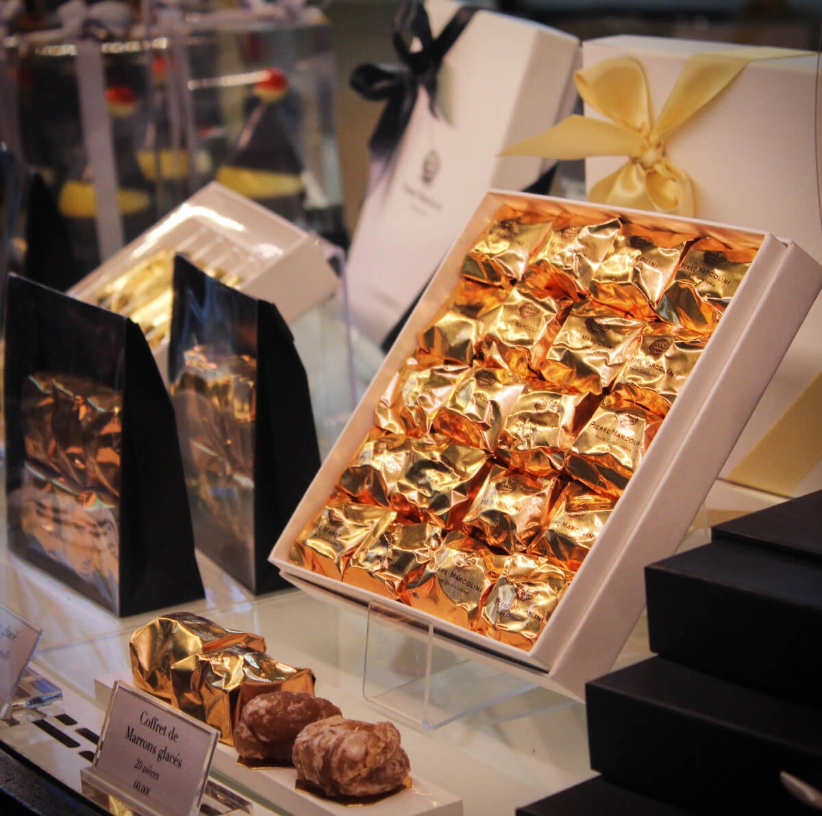 Invitingly wrapped Belgian chocolates on the Brussels beer and chocolate tour in Belgium.