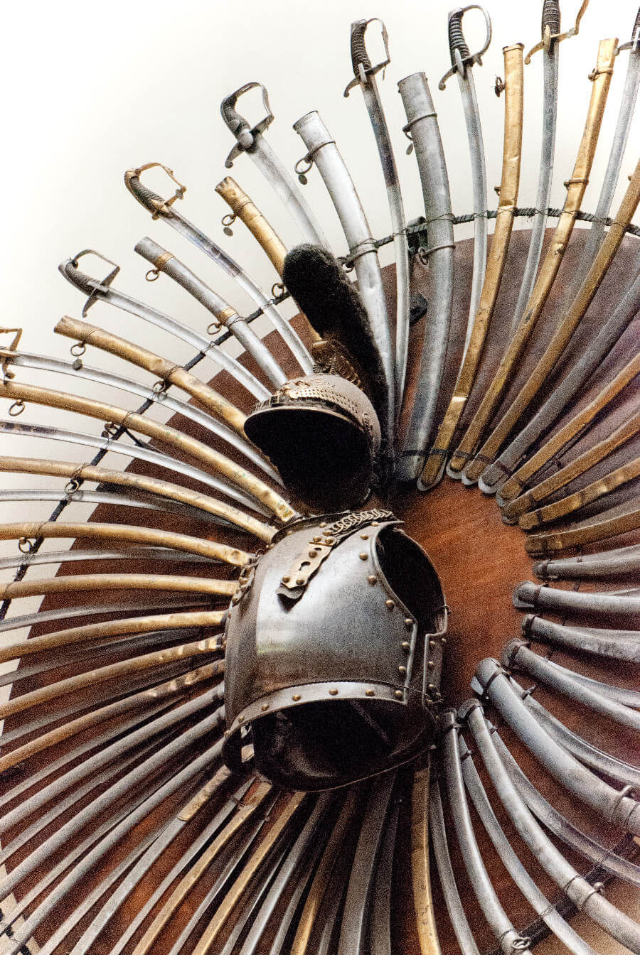 Swords and armour on display at the Royal Military Museum in Brussels, Belgium.