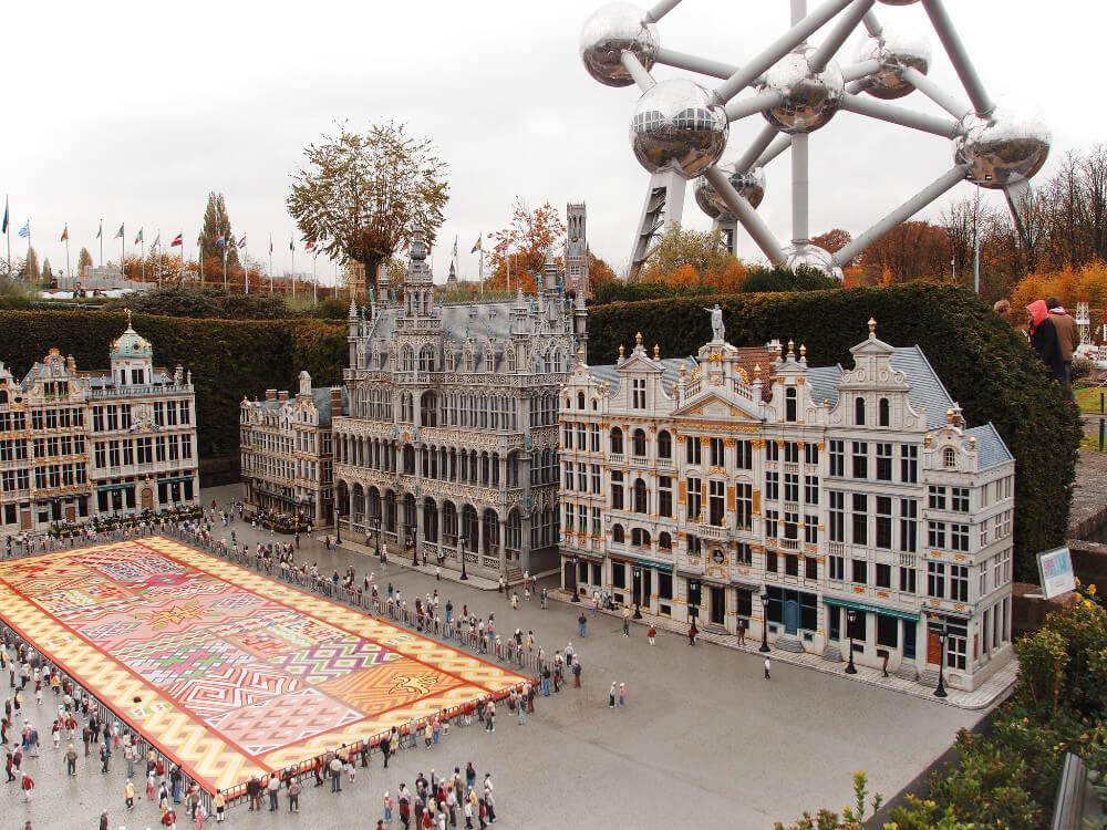 Mini Europe and the Atomium in Brussels, Belgium.