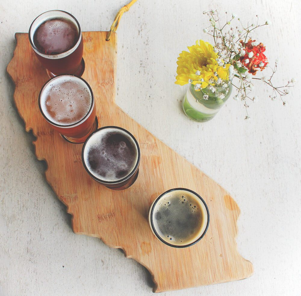 Beer flight at Hook & Plow in Hermosa Beach, California, on the Strand in South Bay.