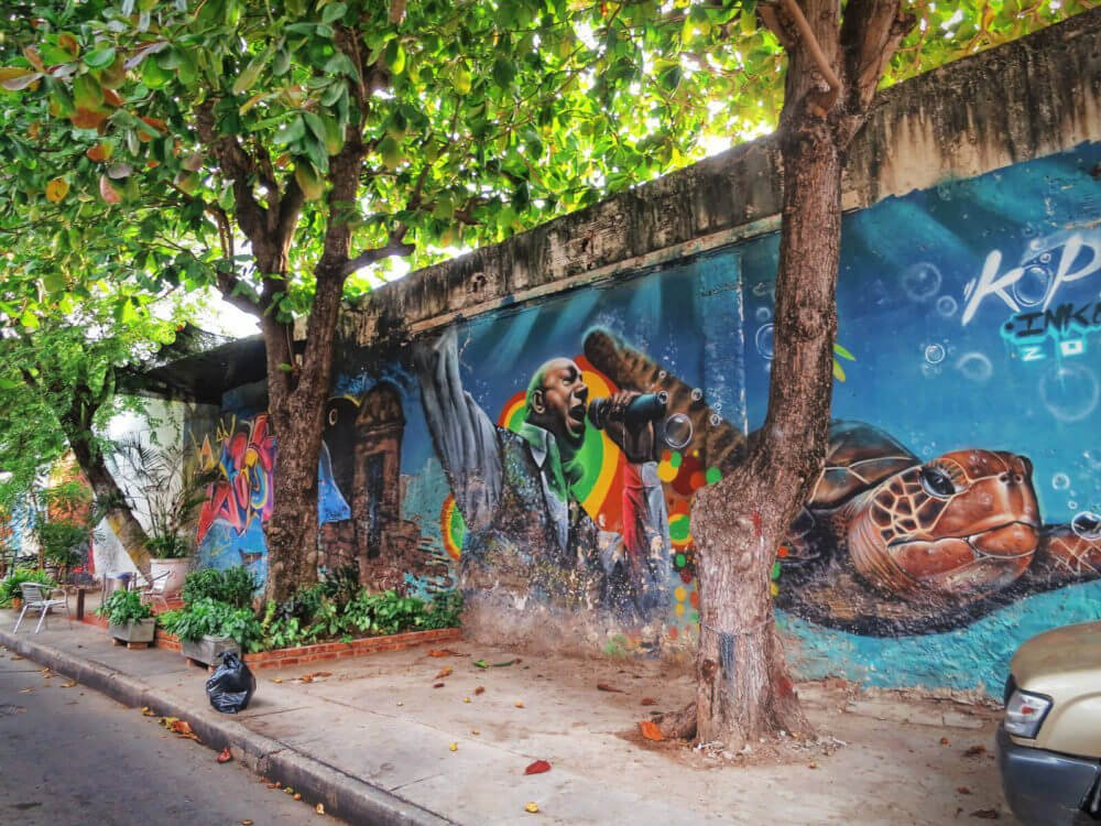 Getsemani, Colombia is a super hip neighborhood and home to dazzling street art as well as some of the best restaurants in Cartagena.
