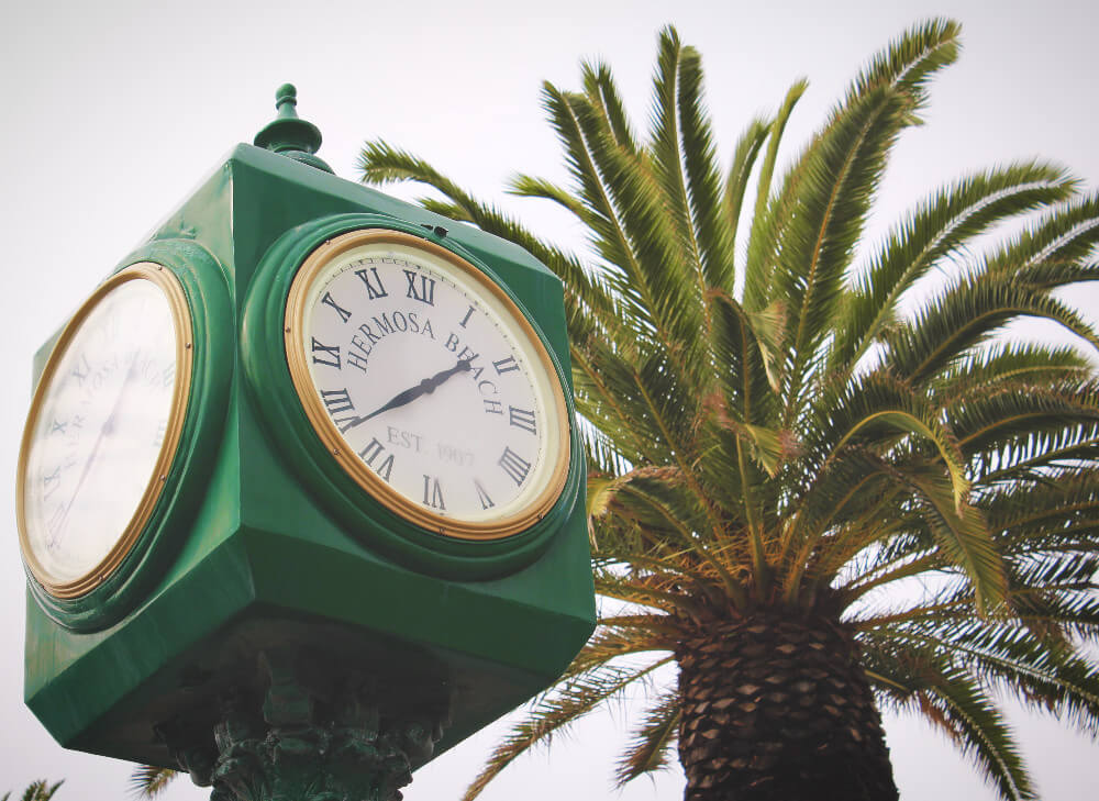 Clock tower in Hermosa Beach, California, on the Strand in South Bay.