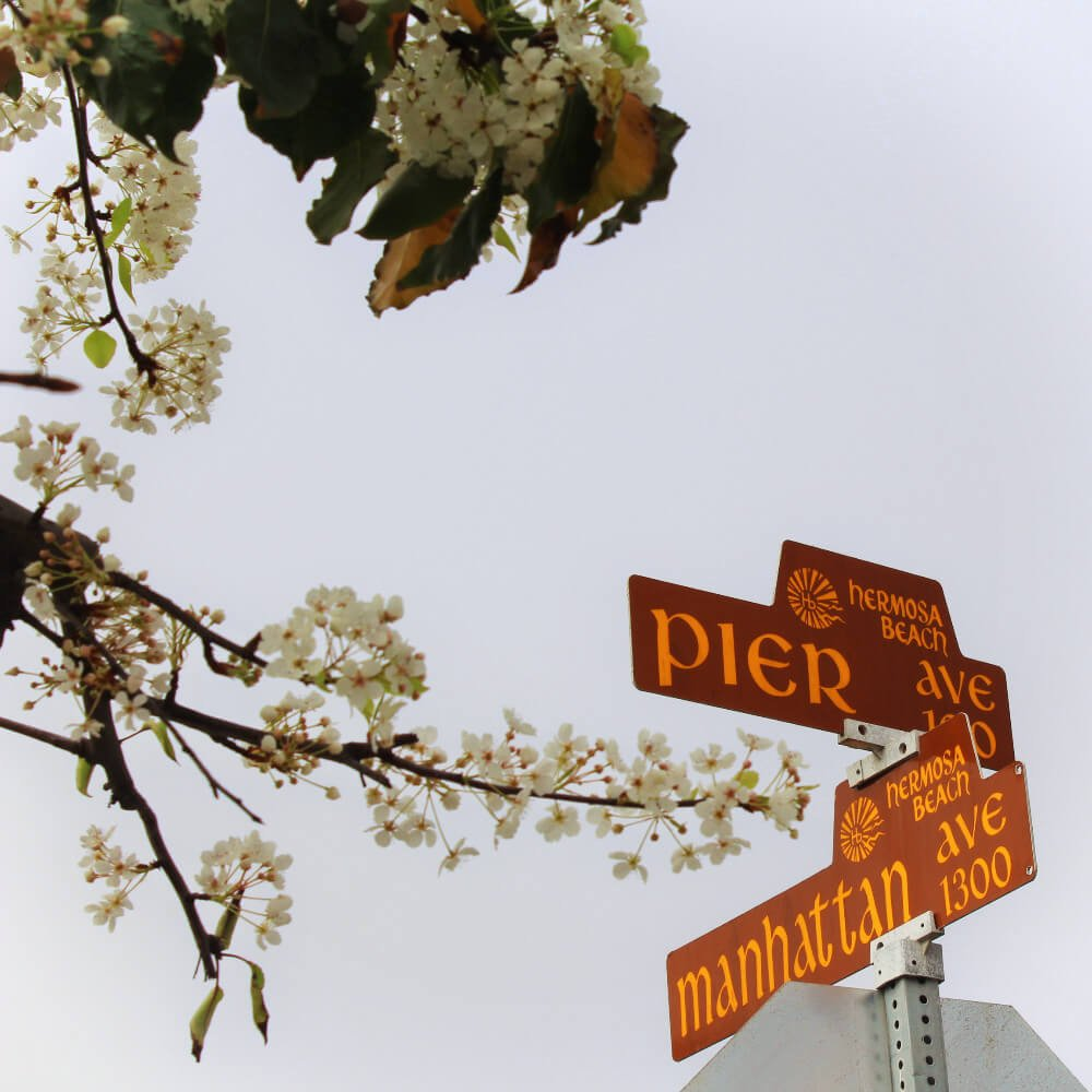 Street signs in Hermosa Beach, California