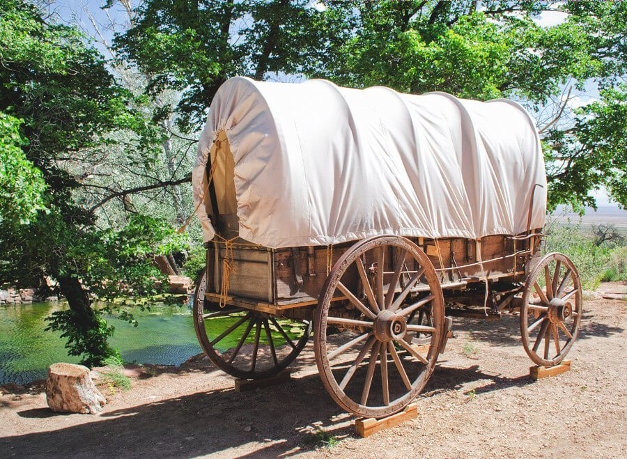 An old covered wagon. You can stay in one of these in California. It's one of the most ridiculous places to stay near San Francisco!