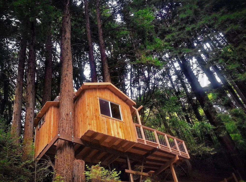 This treehouse redwoods cabin in Santa Cruz, California is both made from salvaged redwood, AND literally built around redwoods - in the redwoods, of course. Oh, and it's next to the Mystery Spot. It's one of our favorite offbeat places to stay near San Francisco!