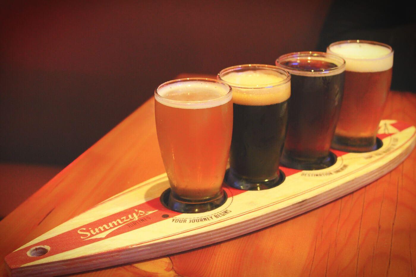 Simmzy's beer flight in Manhattan Beach, South Bay, Los Angeles, California.