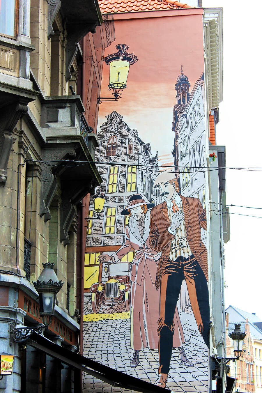 Comic book style street art in Brussels, Belgium