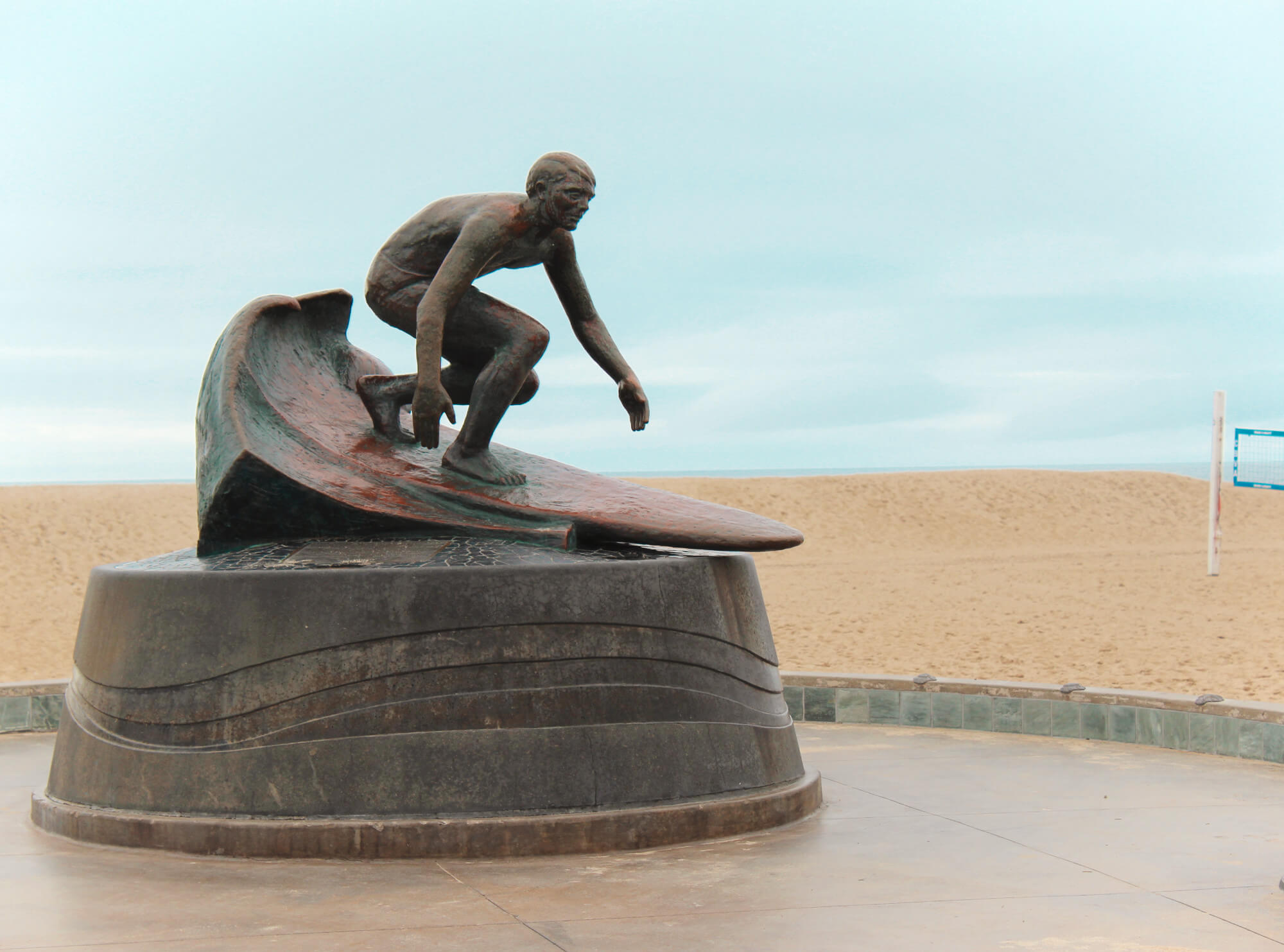 Surfer statue in Hermosa Beach Pier on the Strand, South Bay, Los Angeles, California