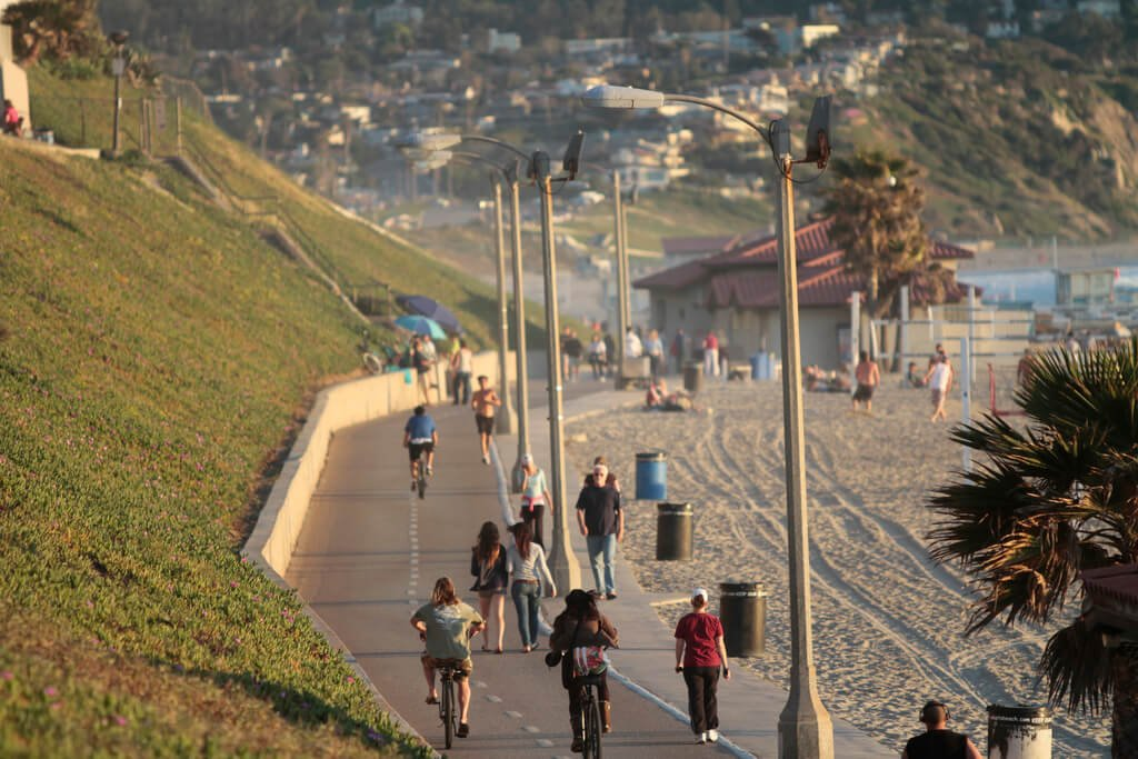 The Strand bike and walking path in Redondo Beach, Los Angeles, California.