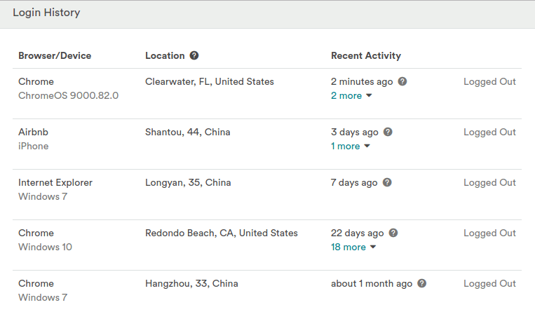"This is our AirBnB ""security log,"" where you can clearly see that someone was randomly logging into our account from China. Creepy!"