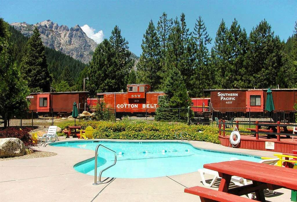 Sleep in a historic train caboose at the Railroad Resort Park in Dunsmuir, California in the shadow of Mount Shasta. There's even a clear, bubbling mountain creek for extra mountainy goodness. Sleep in a historic train caboose at the Railroad Resort Park in Dunsmuir, California in the shadow of Mount Shasta. There's even a clear, bubbling mountain creek for extra mountainy goodness.
