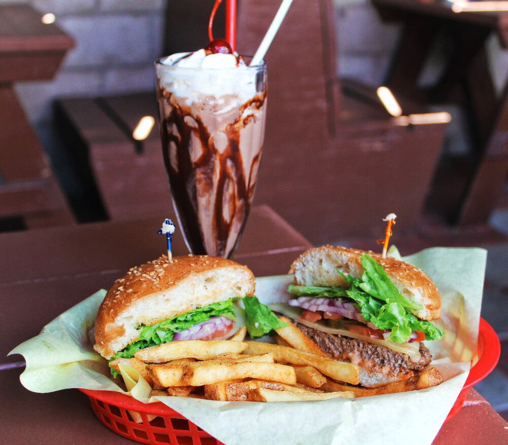 Sylverster's Burgers in Los Osos, California is not your typical burger joint. Order one of their custom burgers with elk, buffalo, or grass-fed beef and don't forget to add one of their insanely generous shakes - all made with real, natural ingredients.