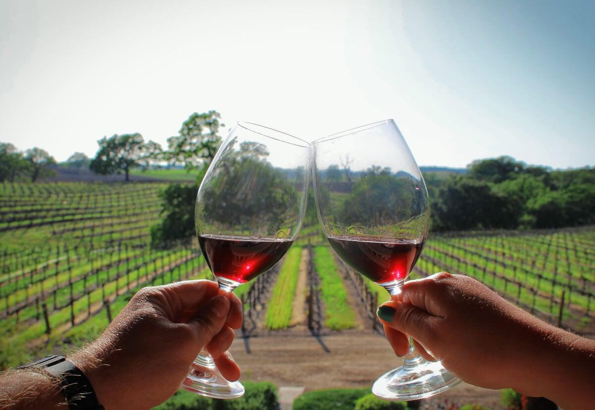 Wine tasting at Zenaida Cellars in Paso Robles, California.