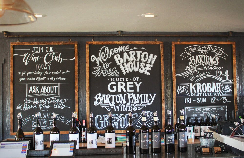 Gorgeous signage at Barton Family Wines in Paso Robles, California.