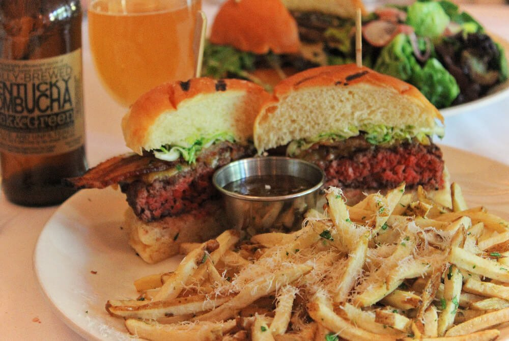 The Bison Burger at Proof on Main in Louisville, Kentucky is farmed nearby on their very own Bison farm. Because of course it is!