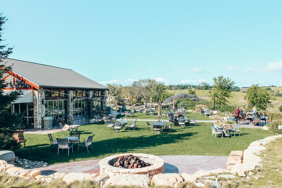 Patio and firepit at Calcareous Winery in Paso Robles, California.