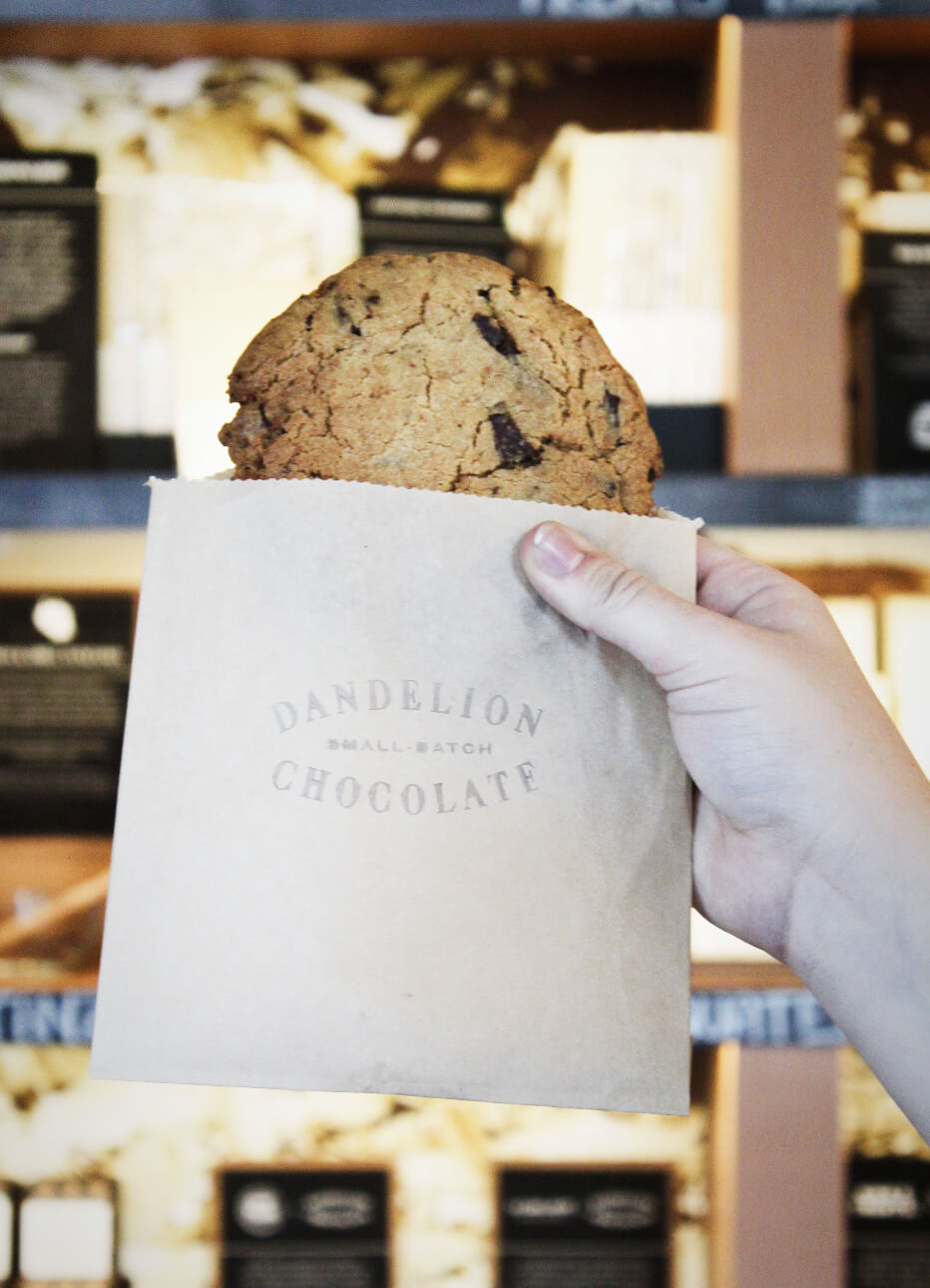 An enormous cookie from Dandelion Chocolate stuffed full of huge chunks of single-origin artisanal chocolatey heaven on the Ultra Chocolate tour in San Francisco, California.