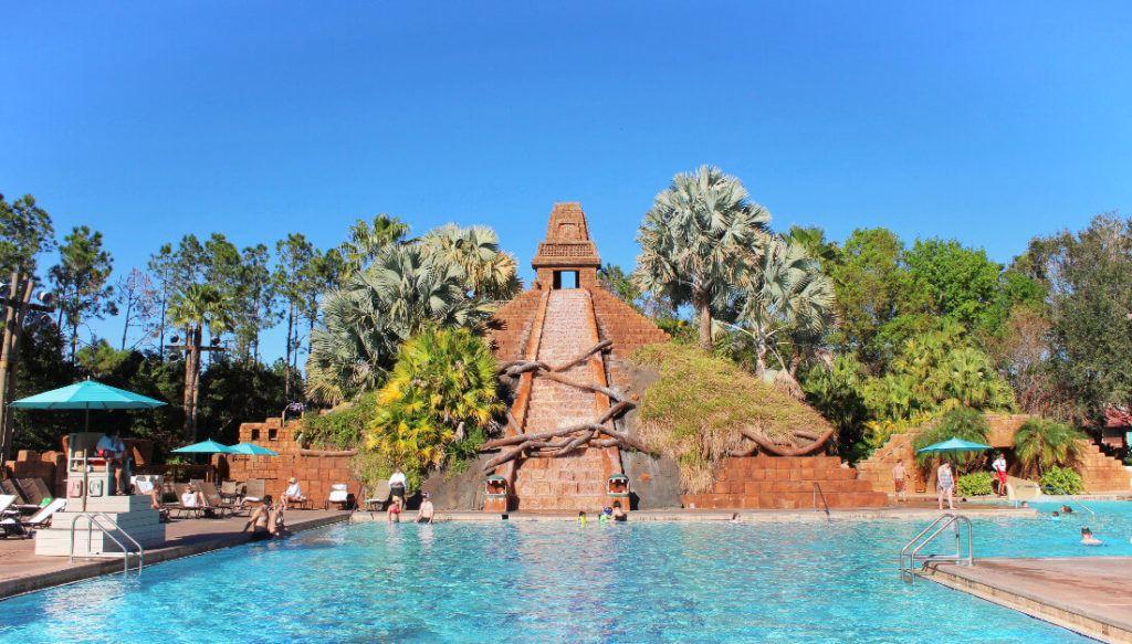 Disney's Coronado Springs Resort pool, the first stop of the Disney Resort Bar Crawl!
