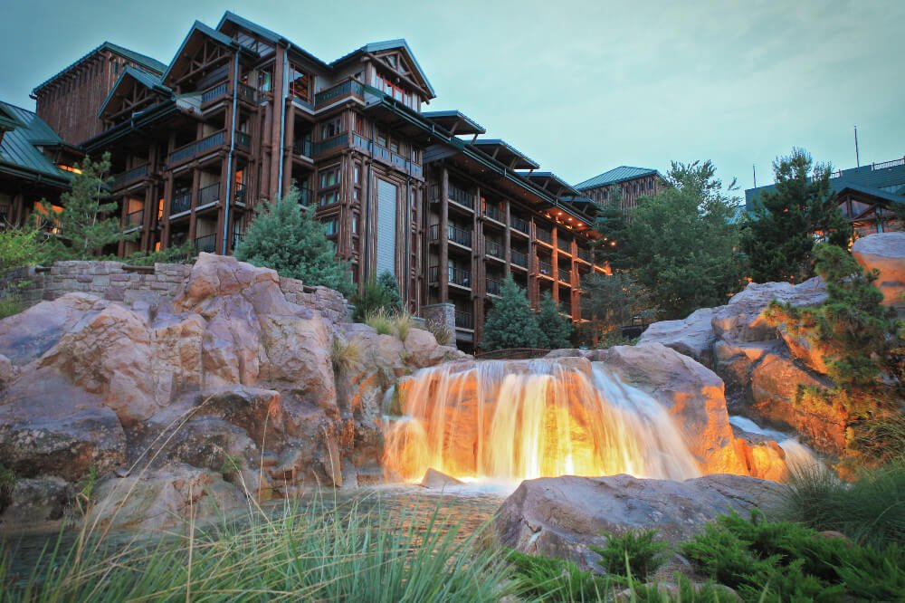 Disney's Wilderness Lodge at dusk, one of the last stops on our Disney Resorts Bar Crawl.
