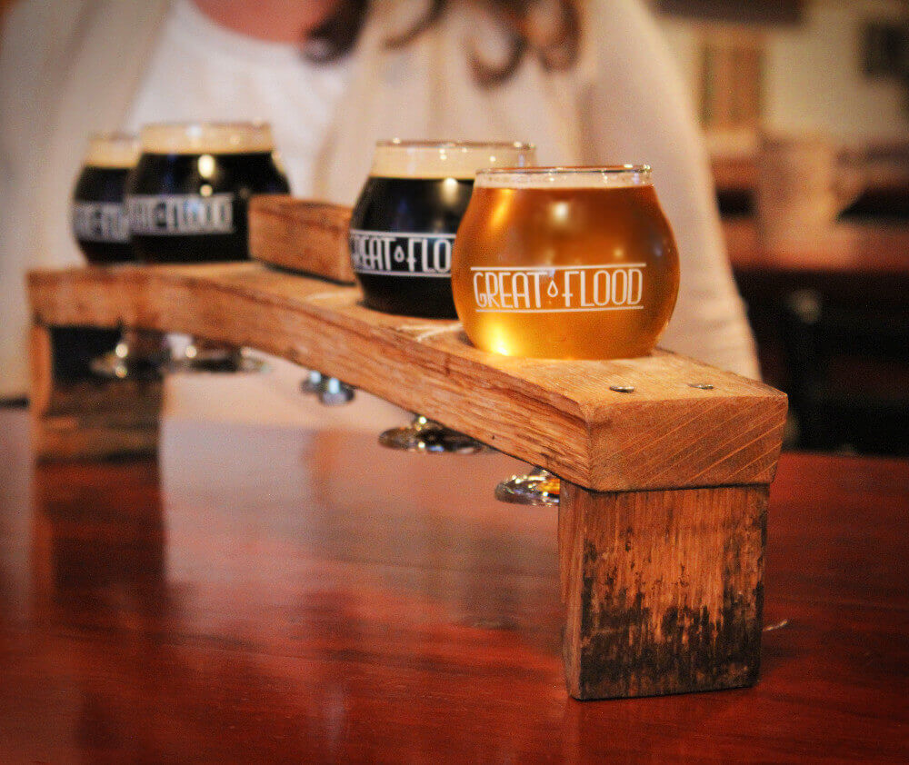 At Great Flood Brewery in Louisville, Kentucky you'll find delicious craft beer flights and of course, plenty of bourbon barrel aged beers!