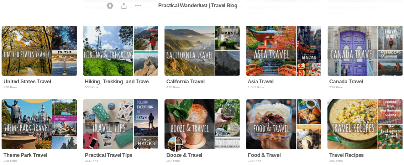Pinterest Boards from the Practical Wanderlust Pinterest account!
