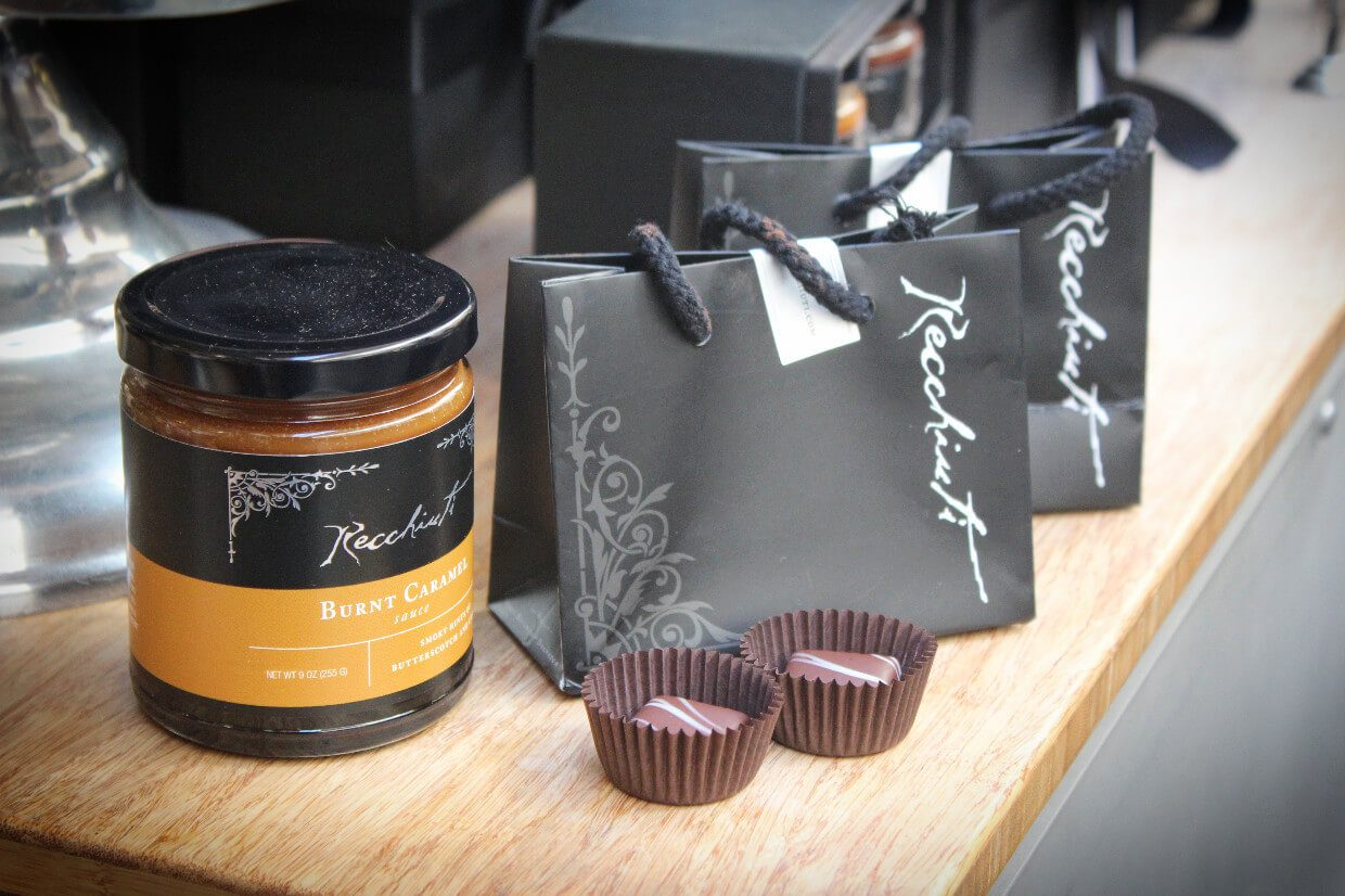 Adorable little chocolate goodie bags (and delicious burnt caramel sauce) in the Ferry Building on the Ultra Chocolate tour in San Francisco, California.