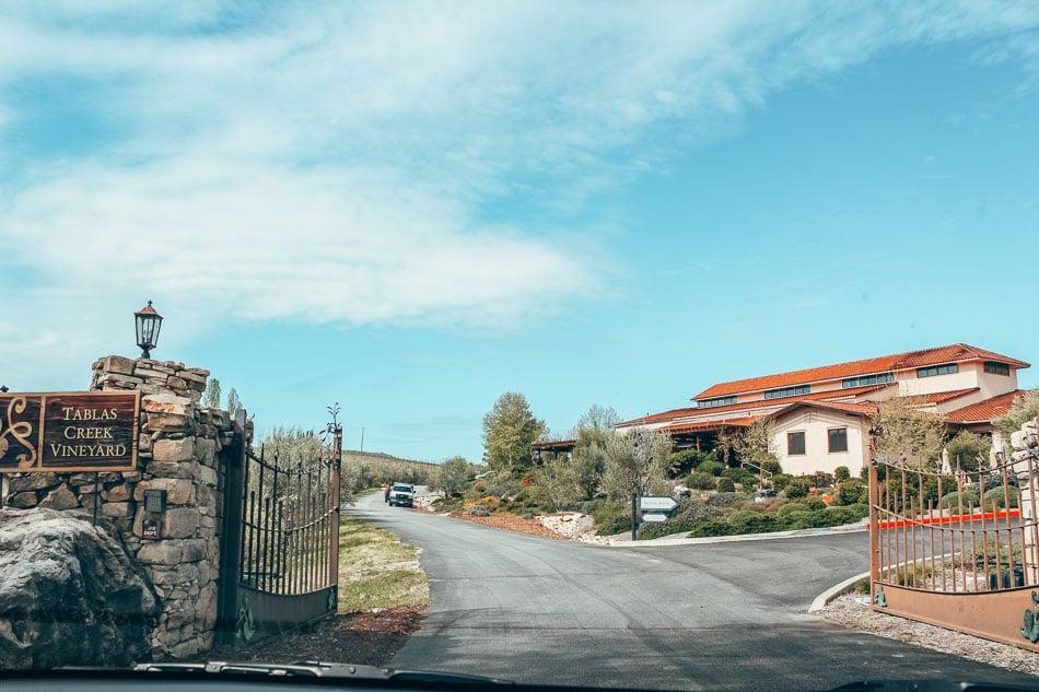 Entrance to Tablas Creek Winery in Paso Robles, California