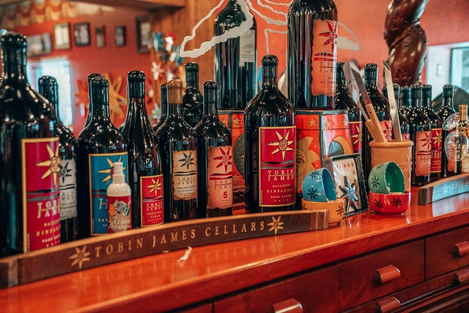 Wine bottles at Tobin James, one of the most budget-friendly wineries in Paso Robles!