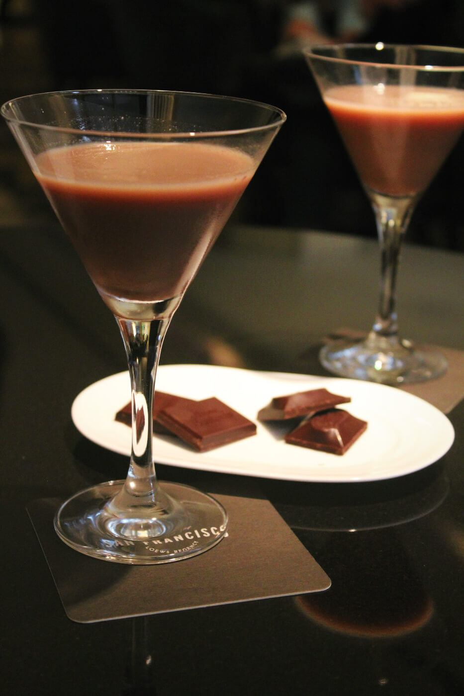 A delicious chocolate cocktail made with gin on the Ultra Chocolate Tour in San Francisco, California!