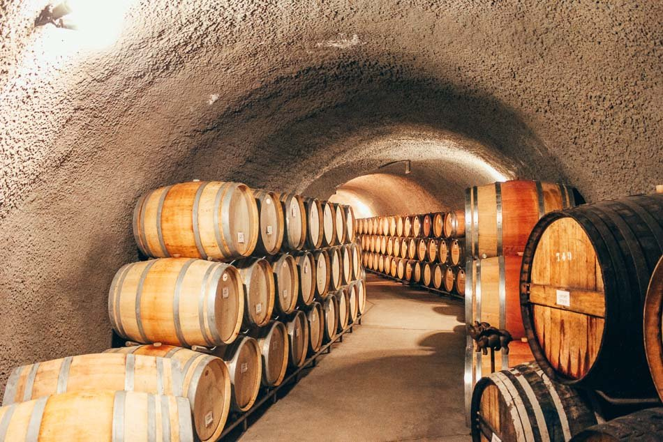 Cave tour and wine barrel storage at Eberle Winery in Paso Robles, California.