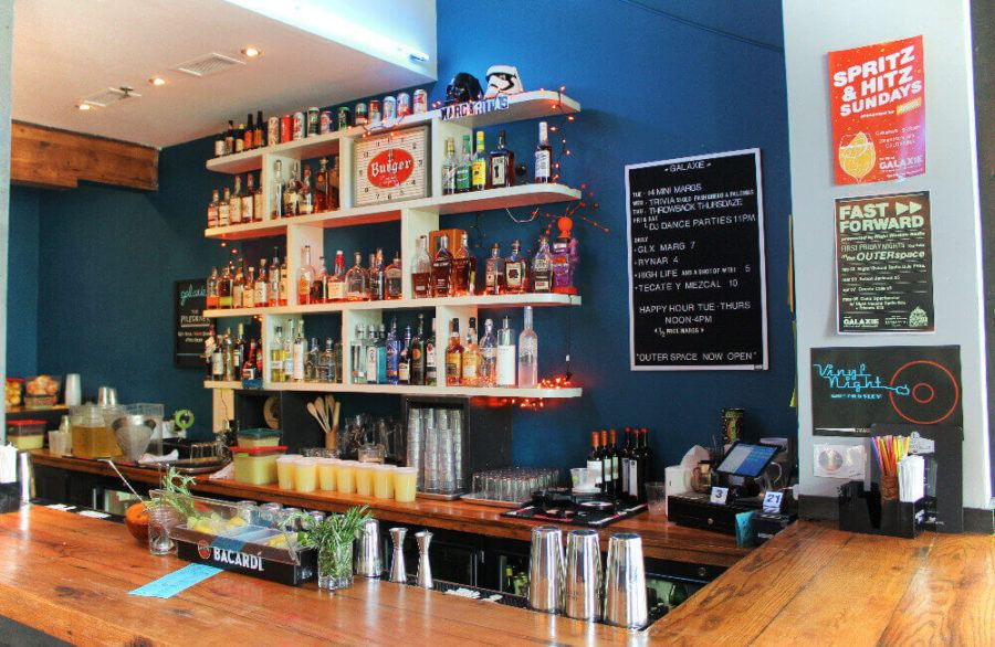 Looking for nightlife in Louisville? There are some amazing bars in Louisville, like Galaxie Bar in the NuLu neighborhood, pictured here!