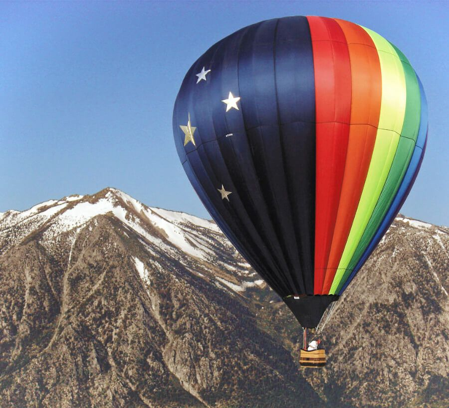 Take a hot air balloon ride over the mountains in Carson Valley, Nevada!