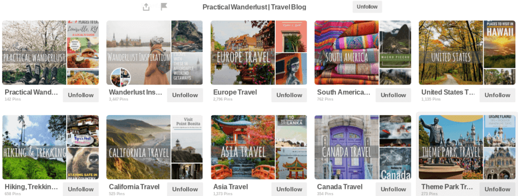 Pinterest boards with matching board covers.