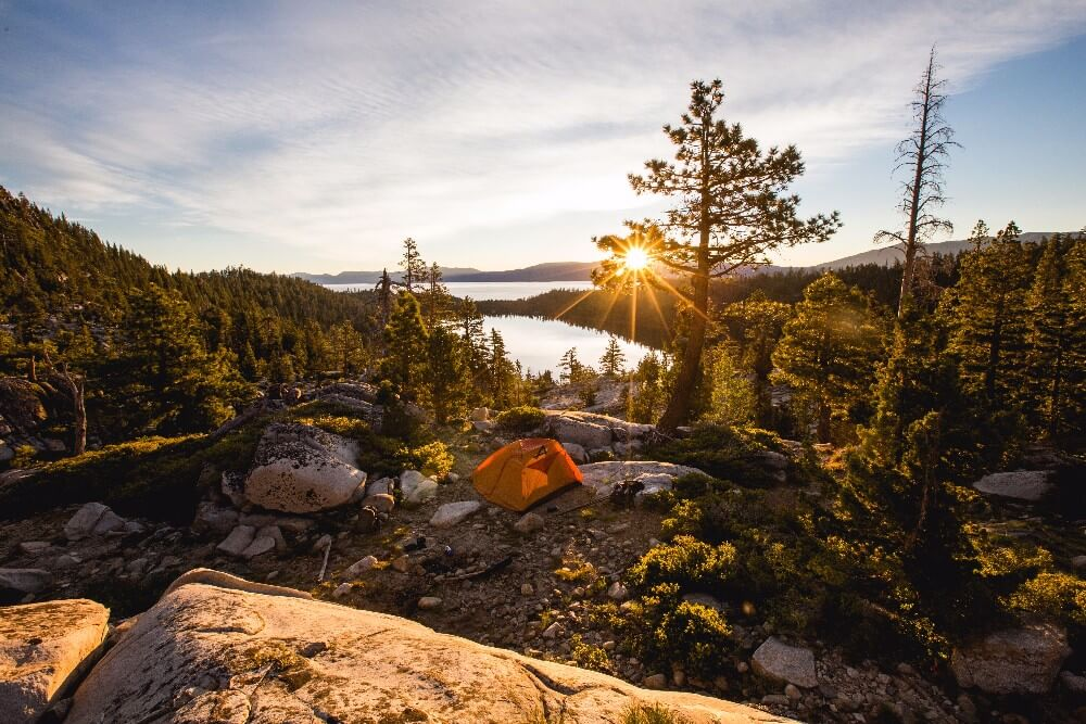 Bring a tent - or a hammock, if you're us - and go camping in the granite cliffs and pine forests near South Lake Tahoe and Carson Valley, Nevada!