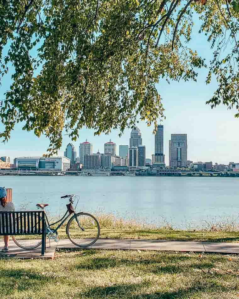 Louisville KEntucky Skyline across the Ohio River on a Bike Path