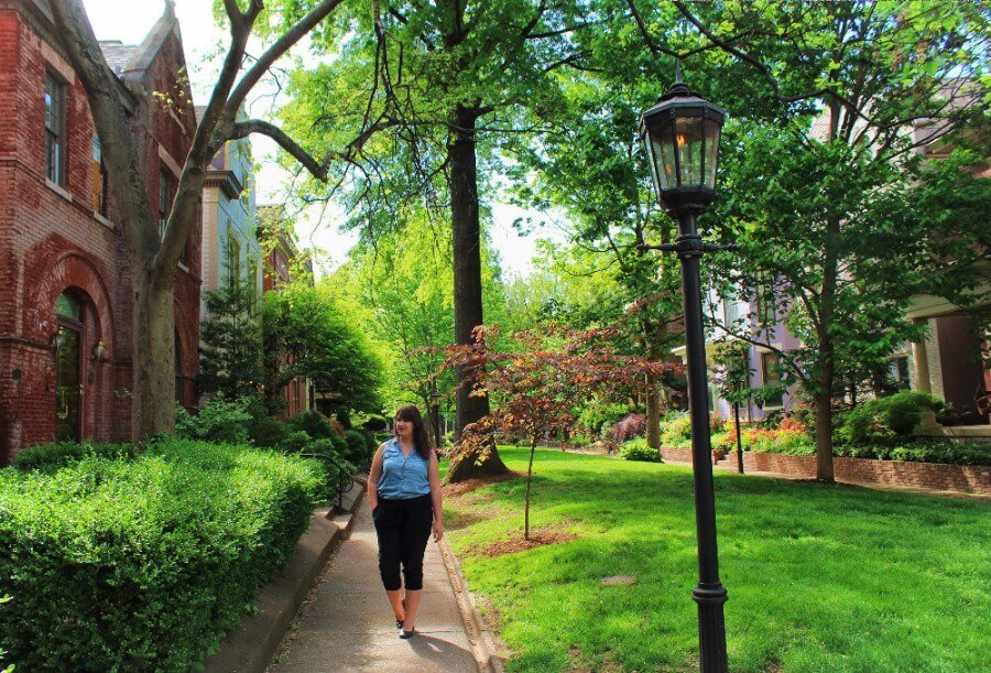 Old Louisville is my favorite place to go for a walk in Louisville, Kentucky. From scenic St. James Court to tucked-away Belgravia Court to Central Park, you could spend hours wandering through beautiful old Victorians and tree-lined streets!