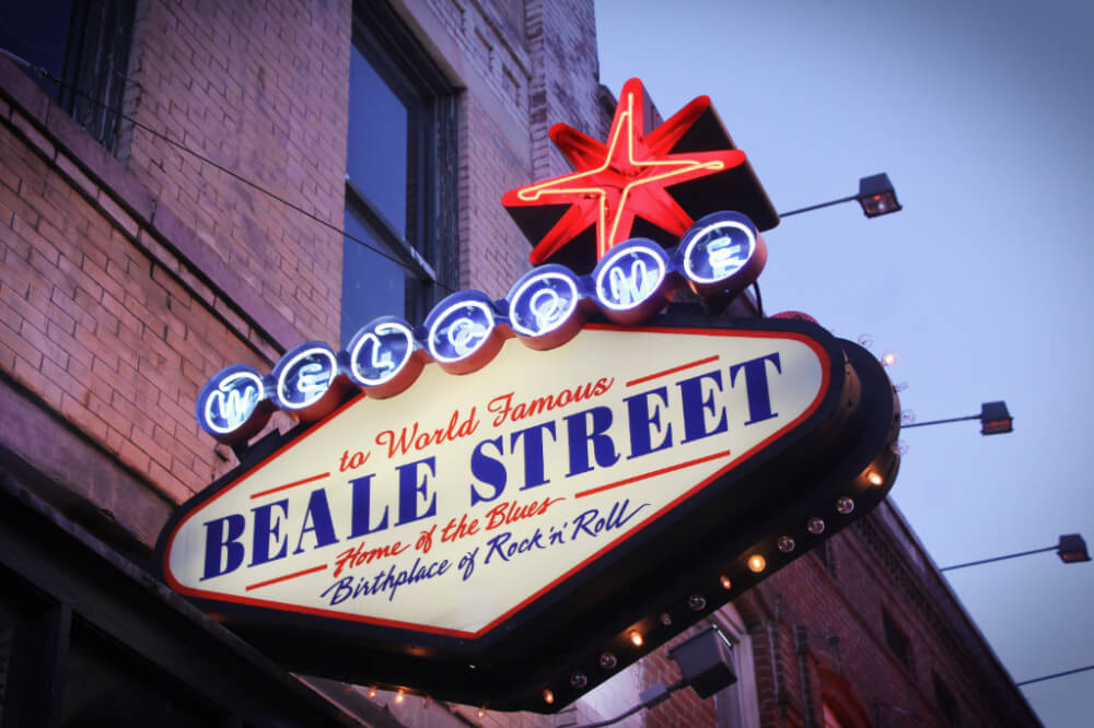 Iconic Beale Street in Memphis, Tennessee, one of the best musical destinations in the USA.