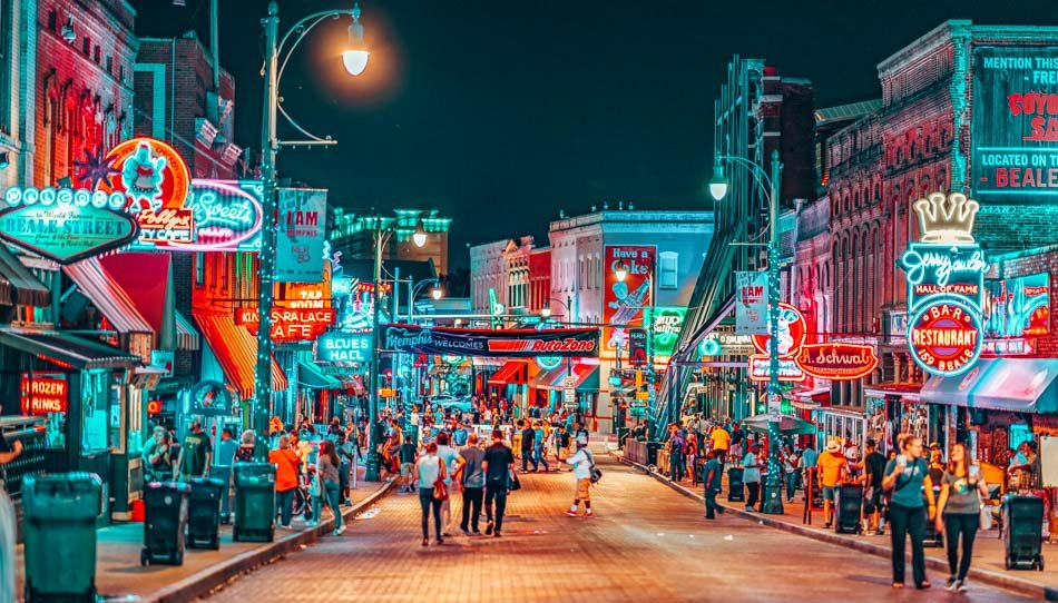 Beale Street at night in Memphis, Tennessee.