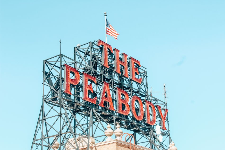 The Peabody Hotel Sign in Memphis, Tennessee