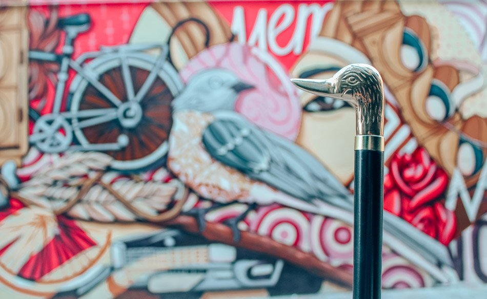 Duck cane in front of a mural in Memphis, Tennessee