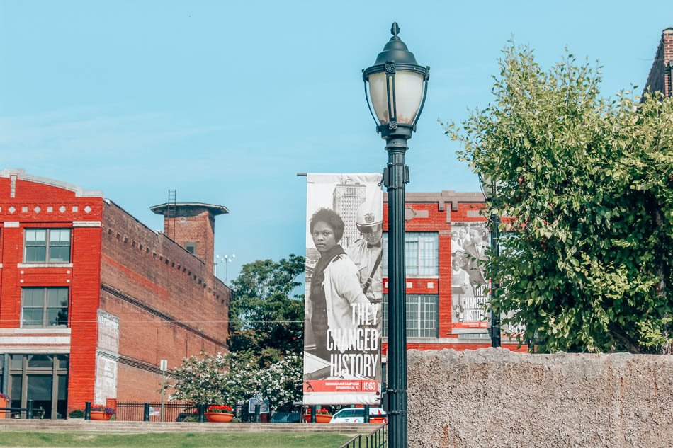 Signs outside the National Civil Rights Museum in Memphis, Tennessee.