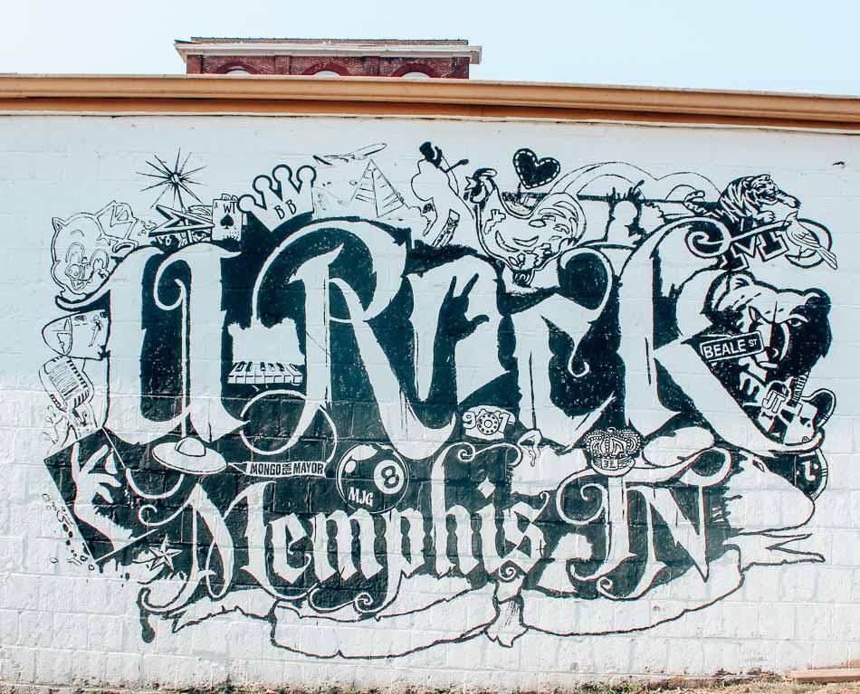 U-Rock Mural celebrating music in Memphis, Tennessee.