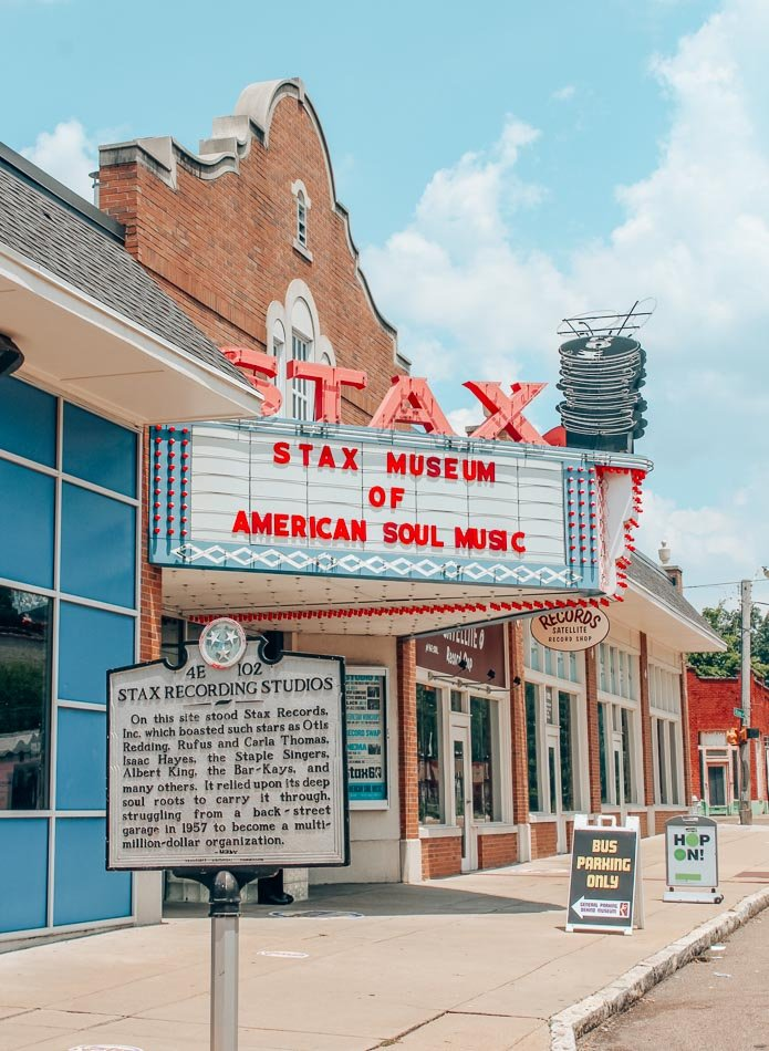 The exterior of the Stax Museum in Memphis, Tennessee, one of the best things to do on a weekend in Memphis.